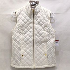 Women's faux fur lined White Quilted Pattern Vest